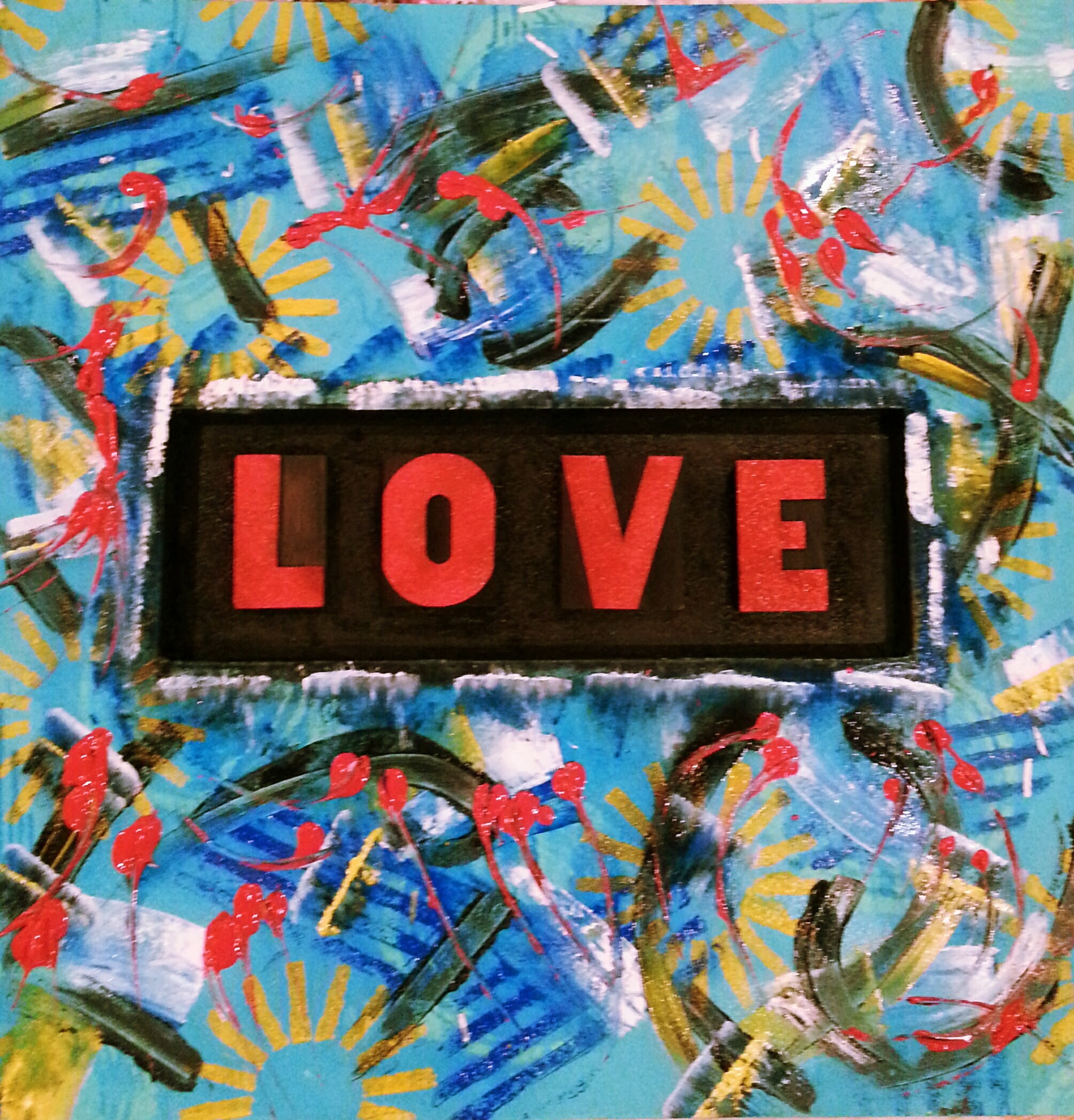 graphic art, christine's mod art. colorful, red, green, black, art, contemporary, abstract, urbanart, modern, love